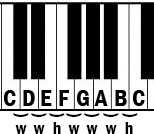Piano keyboard one octave with whole and half-steps labeled